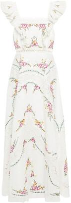 Zimmermann Crochet-trimmed Embroidered Linen And Cotton-blend Maxi Dress