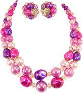 One Kings Lane Vintage Purple & Rose Bead Necklace Suite