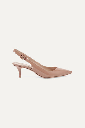 Gianvito Rossi Anna 55 Patent-leather Slingback Pumps - Beige