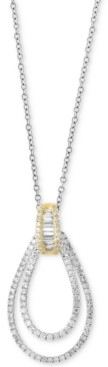 Effy Duo by Diamond Two-Tone Teardrop Pendant Necklace (1/2 ct. t.w.) in 14k Gold and White Gold