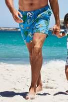 Mens Next Blue Cactus Print Swim Shorts - Blue