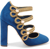 Dolce & Gabbana Embellished Suede Mary Jane Pumps - Storm blue