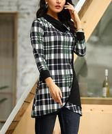Reborn Collection Women's Tunics Black - Black & Green Plaid Asymmetric Button-Up Tunic - Women & Plus