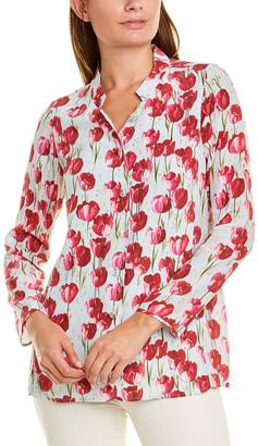 Leggiadro Stand-Up Collar Silk Blouse