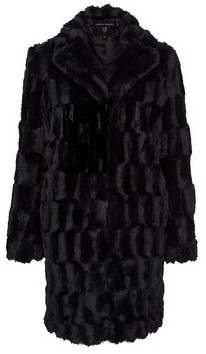 Dorothy Perkins Womens Black Squiggle Faux Fur Coat, Black