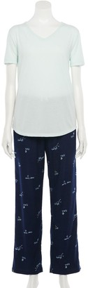 Sonoma Goods For Life Women's Cotton & Flannel Pajama Top & Pajama Pants Set