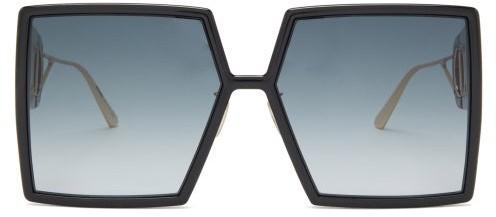 Christian Dior 30montaigne Square Acetate Sunglasses - Black Grey