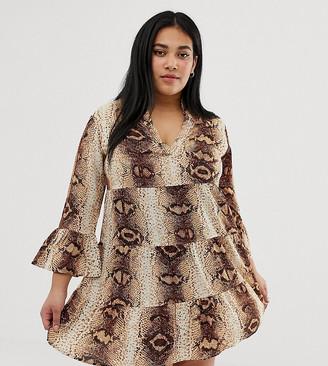 AX Paris Plus Plus snake print v neck shift dress