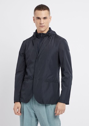 Emporio Armani Jacket In Tech Fabric With Drawstring Hood