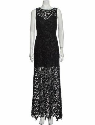 Alice + Olivia Lace Pattern Long Dress w/ Tags Black