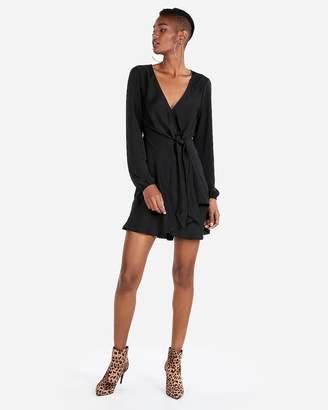 Express Knotted V-Neck Elastic Waist Mini Dress