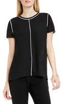 Vince Camuto Women's Piped Detail Short Sleeve Blouse