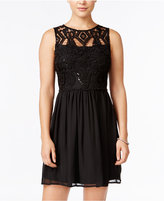 Trixxi Juniors' Sequined Lace Cutout-Back A-Line Dress