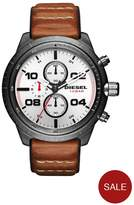 Diesel Padlock Multi Dial Tan Leather Strap Mens Watch