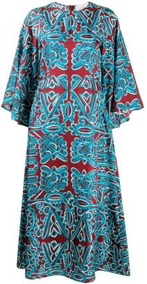 La DoubleJ Printed Silk Maxi Dress