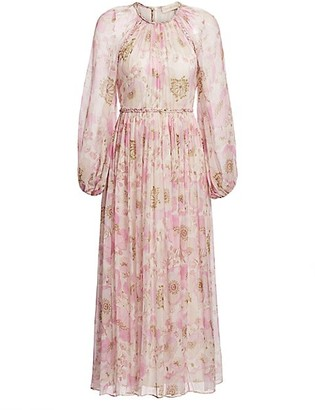 Zimmermann Super 8 Silk Floral Blouson-Sleeve Midi Dress
