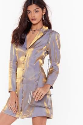 Nasty Gal Feelin' Like a Shimmer Button-Down Blazer Dress