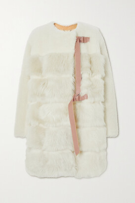 Chloe - Leather-trimmed Shearling Coat - White