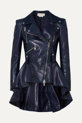 Alexander McQueen Leather Peplum Biker Jacket - Navy