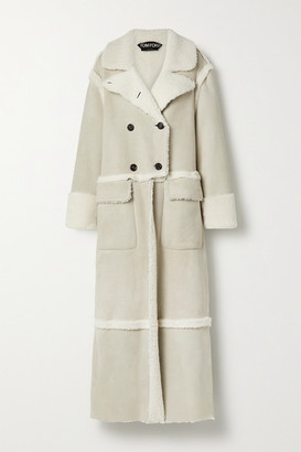 Tom Ford Double-breasted Shearling Coat - Ivory