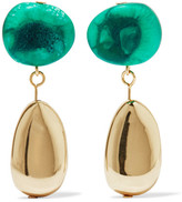 Dinosaur Designs Short Mineral Gold-filled Resin Earrings - Emerald