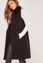 Missguided Sleeveless Faux Fur Collar Tailored Coat Black