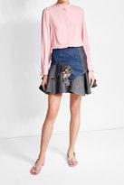 Alexander McQueen Printed Ruffle Denim Skirt