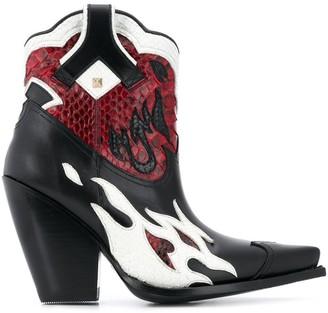 Valentino Rockstud flame cowboy boots