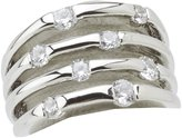 """GUESS Basic"""" Jet Oval Stone with Crystal Border Ring, Size 7"""