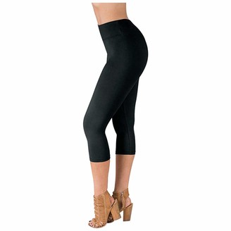 Overdose Women's Clothing Overdose Cropped Leggings for Women 3/4 Length Stretch Trousers Ladies Crop Capri Pants Elasticated Leggings Casual Shorts Treggings Black