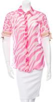 Versace Silk Zebra Print Top w/ Tags