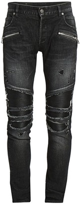 Balmain Distressed Faux Leather-Insert Skinny Jeans