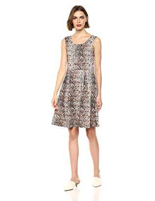 Star Vixen Women's Classic Str Ponte Knit Sleeveless Box-Pleat FitnFlare Dress