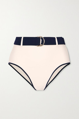 Odyssee - Azur Belted Two-tone Bikini Briefs - Cream