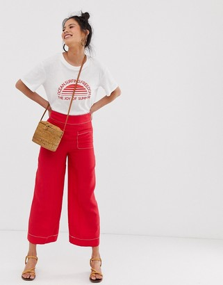 Moon River wide leg pants with contrast stitching