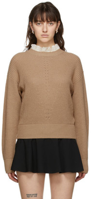 RED Valentino Tan Wool and Cashmere Lace Sweater
