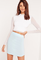 Missguided Ponte Curve Hem Mini Skirt Green