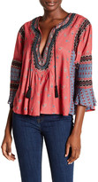 Free People Embroidered Open Neck Blouse