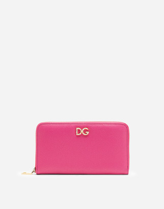 Dolce & Gabbana Zip-Around Wallet In Dauphine Calfskin With Logo Crystals