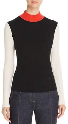 Tory Burch Color-Block Merino Wool Mock-Neck Sweater