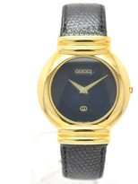 Gucci 5300M Gold Plated & Leather Black Dial Quartz 33mm Mens Watch