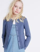 Marks and Spencer Pure Cotton Ribbed Cardigan (3-14 Years)