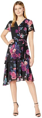 Tahari ASL Short Sleeve Printed Chiffon Dress with Asymmetrical Tiered Hemline (Pink/Purple Floral) Women's Dress
