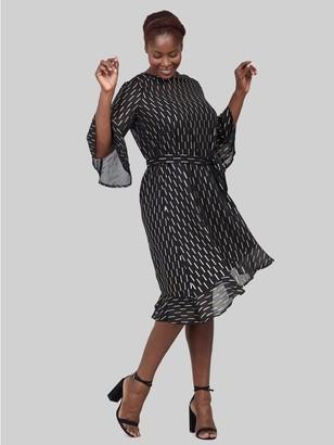 M&Co Izabel Curve geo asymmetric midi dress