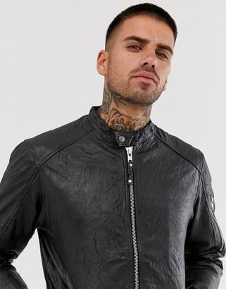 Jack and Jones leather biker jacket in black