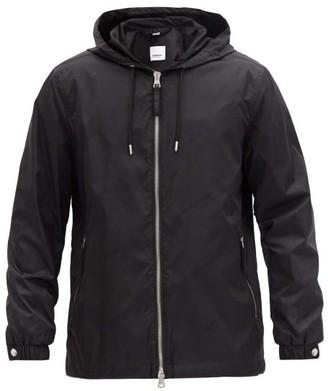 Burberry Stretton Logo-jacquard Shell Hooded Jacket - Black