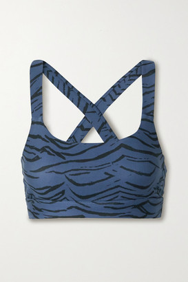 The Upside Lisa Tiger-print Stretch Sports Bra - Storm blue