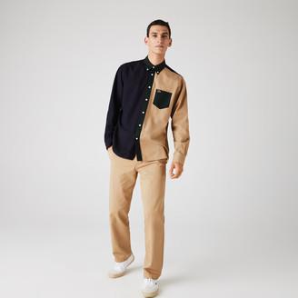 Lacoste Men's Lightweight Regular Fit Colorblock Cotton Canvas Shirt