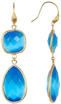 Rivka Friedman 18K Gold Clad Faceted Blue Cat&s Eye Crystal Bold Double Dangle Earrings