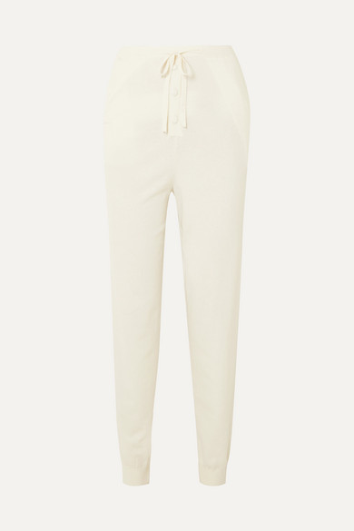 Live The Process Button-embellished Knitted Track Pants - Ivory